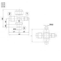 Sulkuventtiili CASTEL 6176/66- 5/16MSAE- 3/4MSAE- 3/4S