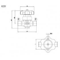 Sulkuventtiili CASTEL 6220/M6- 6S