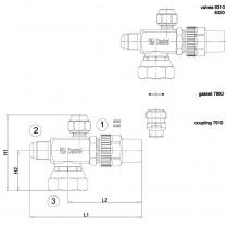 Rotalock-venttiili CASTEL 6310/2- 3/4-16UNF- 1/4MSAE